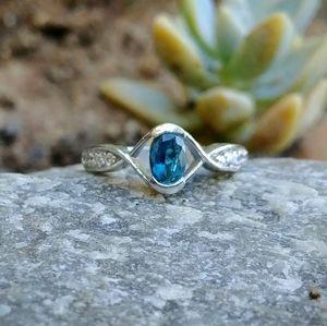 Dark Blue Genuine Tourmaline Sterling Silver Ring